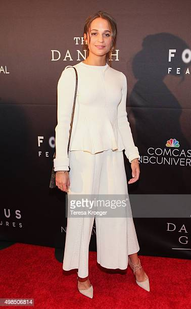 Actress Alicia Vikander attends the premiere of 'The Danish Girl' commemorating the Annual Transgender Day of Remembrance at the United States Navy...