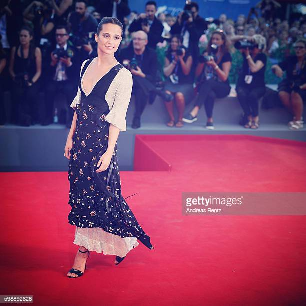 Actress Alicia Vikander attends the premiere of 'The Light Between Oceans' during the 73rd Venice Film Festival at Sala Grande on September 2 2016 in...