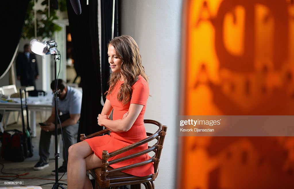 Actress <a gi-track='captionPersonalityLinkClicked' href=/galleries/search?phrase=Alicia+Vikander&family=editorial&specificpeople=7246025 ng-click='$event.stopPropagation()'>Alicia Vikander</a> is interviewed at the 88th Annual Academy Awards nominee luncheon on February 8, 2016 in Beverly Hills, California.
