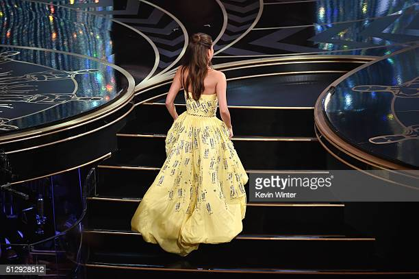 Actress Alicia Vikander walks onstage to accept the Best Supporting Actress award for 'The Danish Girl' during the 88th Annual Academy Awards at the...
