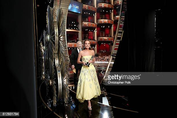 Actress Alicia Vikander winner of Best Supporting Actress award for 'The Danish Girl' walks offstage at the 88th Annual Academy Awards at Hollywood...
