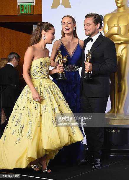 Actress Alicia Vikander winner of Best Supporting Actress for 'The Danish Girl' actress Brie Larson winner of Best Actress for 'Room' and actor...