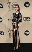 Actress Alicia Vikander winner of Outstanding Performance by a Female Actor in a Supporting Role for 'The Danish Girl' poses in the press room at the...