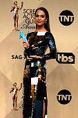Actress Alicia Vikander winner of the Outstanding Performance by a Female Actor in a Supporting Role award for 'The Danish Girl' poses in the press...