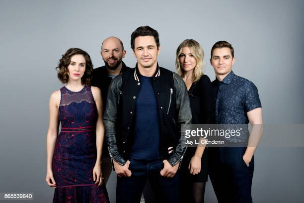 Actress Alison Brie actor Paul Scheer director/actor James Franco actress Ari Graynor and actor Dave Franco from the film 'The Disaster Artist' pose...
