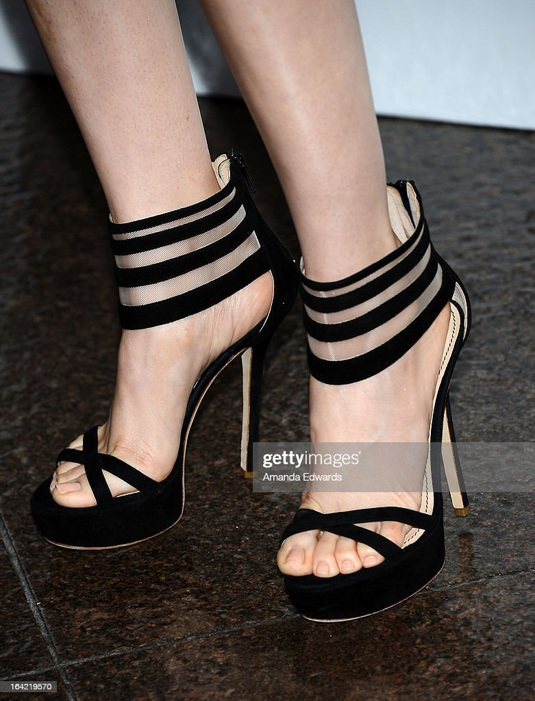 Actress Alison Brie (shoe detail) arrives at AMC's 'Mad Men' Season 6 Premiere at the DGA Theater on March 20, 2013 in Los Angeles, California.