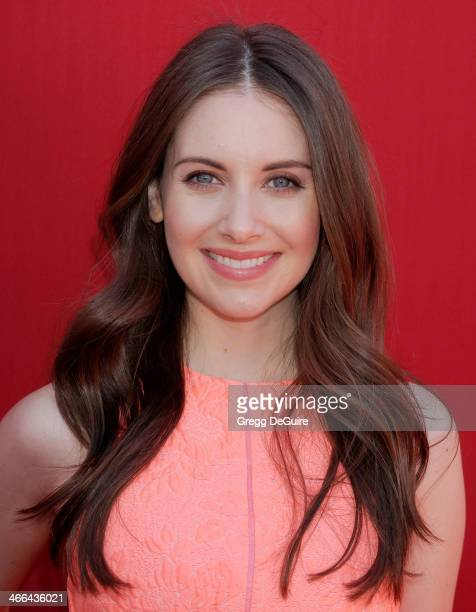 Actress Alison Brie arrives at the Los Angeles premiere of 'The Lego Movie' at Regency Village Theatre on February 1 2014 in Westwood California
