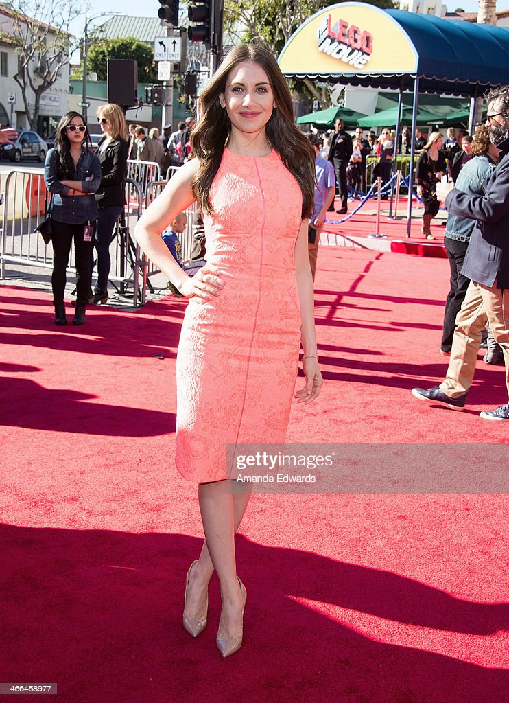 Actress Alison Brie arrives at the Los Angeles premiere of 'The Lego Movie' at the Regency Village Theatre on February 1, 2014 in Westwood, California.