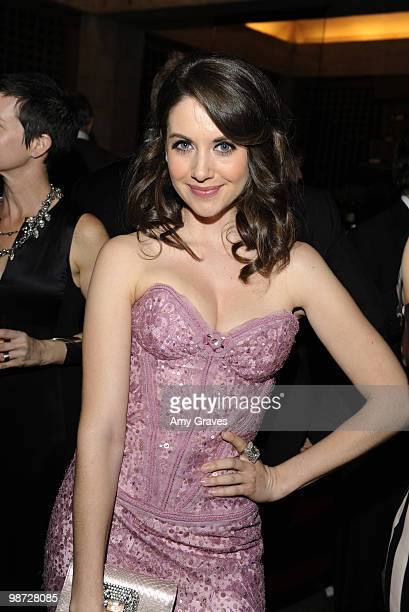 Actress Alison Brie attends the AMC Golden Globes viewing party at The Beverly Hilton Hotel on January 17 2010 in Beverly Hills California
