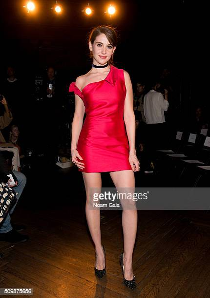 Actress Alison Brie attends the Monse fashion show during Fall 2016 New York Fashion Week at The High Line Hotel on February 12 2016 in New York City