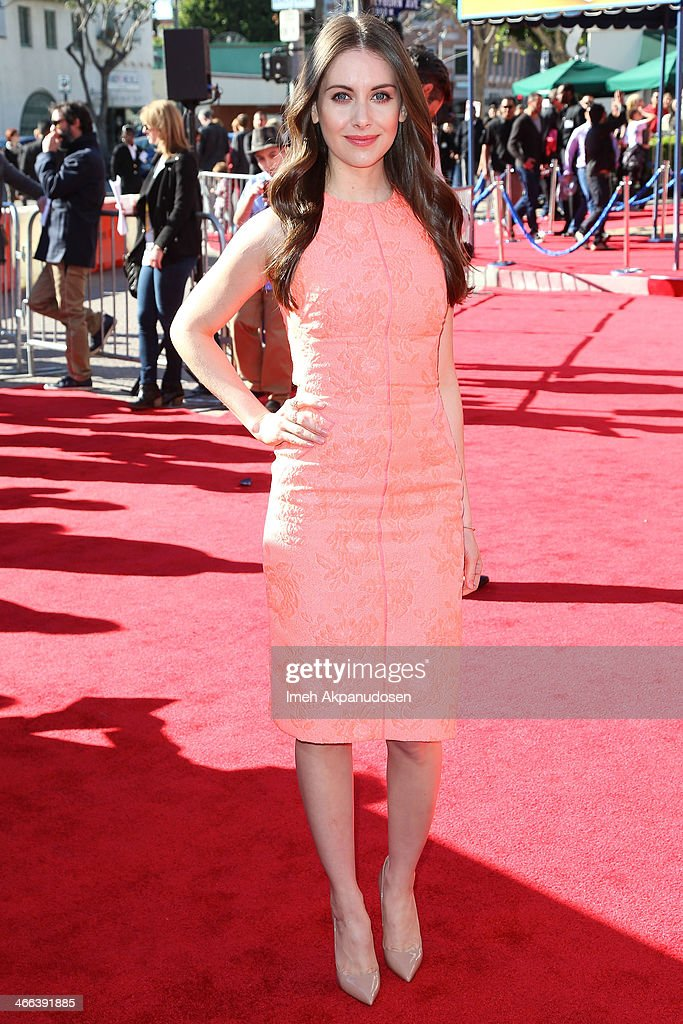Actress <a gi-track='captionPersonalityLinkClicked' href=/galleries/search?phrase=Alison+Brie&family=editorial&specificpeople=5447578 ng-click='$event.stopPropagation()'>Alison Brie</a> attends the premiere of 'The LEGO Movie' at Regency Village Theatre on February 1, 2014 in Westwood, California.