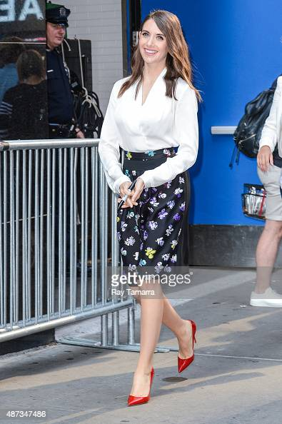 Actress Alison Brie leaves the 'Good Morning America' taping at the ABC Times Square Studios on September 8 2015 in New York City