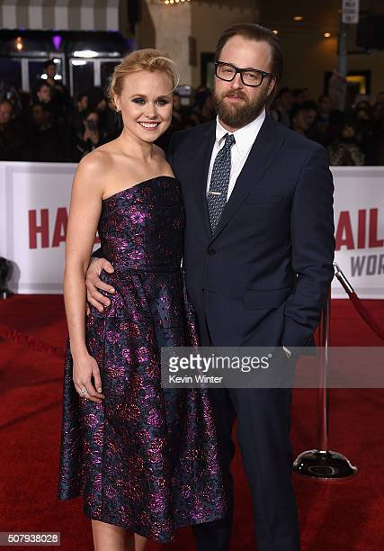 Actress Alison Pill and Joshua Leonard attend Universal Pictures' 'Hail Caesar' premiere at Regency Village Theatre on February 1 2016 in Westwood...
