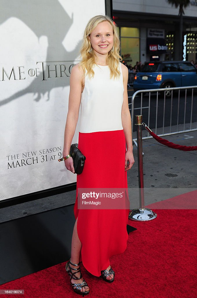 Actress Alison Pill attends 'Game Of Thrones' Los Angeles premiere presented by HBO at TCL Chinese Theatre on March 18, 2013 in Hollywood, California.