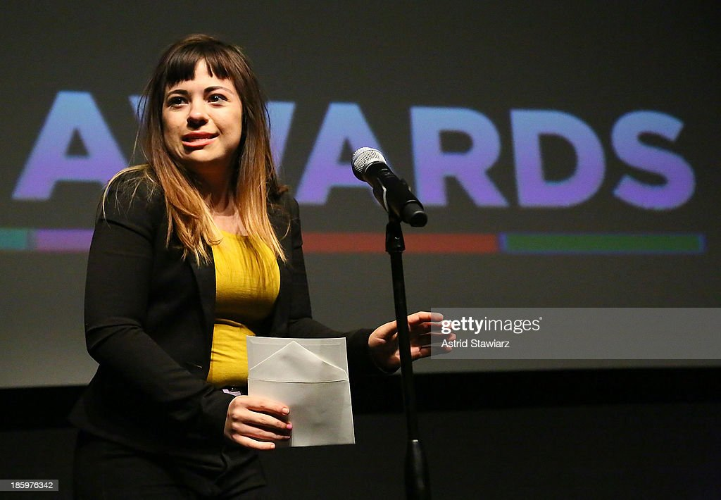 Actress Alison Rich accepts the Best Actress award for 'Incognito' during the awards ceremony at the 9th Annual New York Television festival at SVA Theater on October 26, 2013 in New York City.