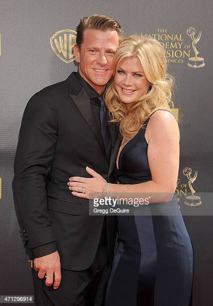 Actress Alison Sweeney and husband David Sanov arrive at the 42nd Annual Daytime Emmy Awards at Warner Bros Studios on April 26 2015 in Burbank...