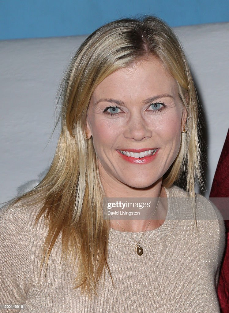 Actress Alison Sweeney and Snoopy attend Knott's Berry Farm's Countdown To Christmas And Snoopy's Merriest Tree Lighting at Knott's Berry Farm on...