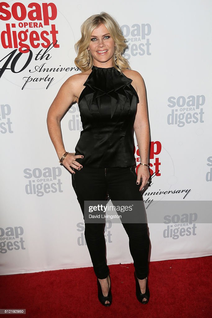 Actress <a gi-track='captionPersonalityLinkClicked' href=/galleries/search?phrase=Alison+Sweeney&family=editorial&specificpeople=217974 ng-click='$event.stopPropagation()'>Alison Sweeney</a> arrives at the 40th Anniversary of the Soap Opera Digest at The Argyle on February 24, 2016 in Hollywood, California.