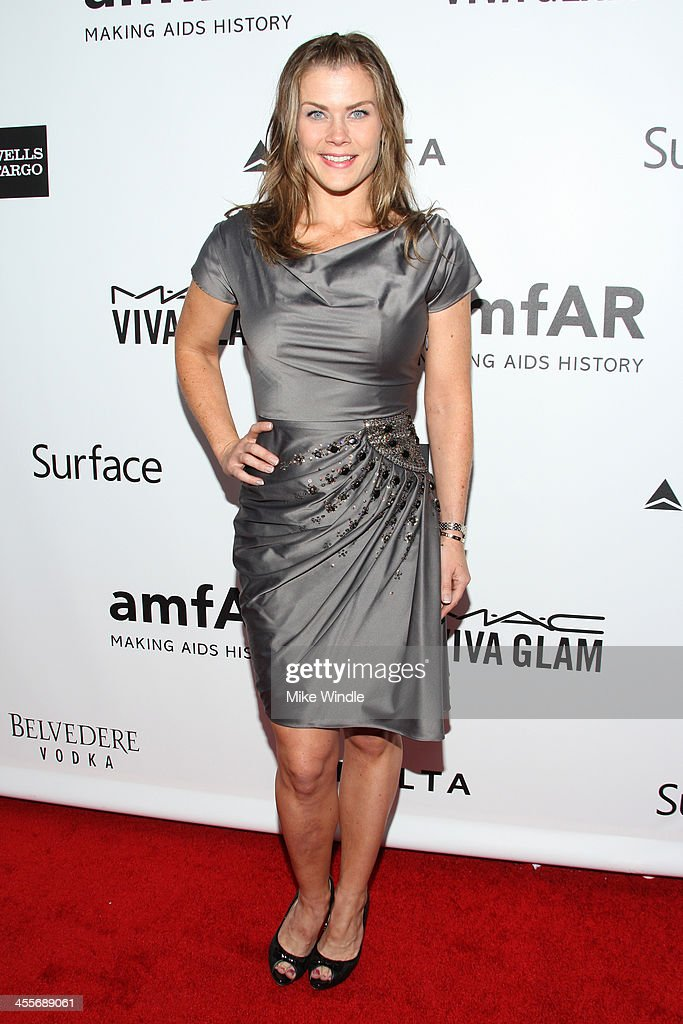 Actress <a gi-track='captionPersonalityLinkClicked' href=/galleries/search?phrase=Alison+Sweeney&family=editorial&specificpeople=217974 ng-click='$event.stopPropagation()'>Alison Sweeney</a> attends the 2013 amfAR Inspiration Gala Los Angeles at Milk Studios on December 12, 2013 in Los Angeles, California.