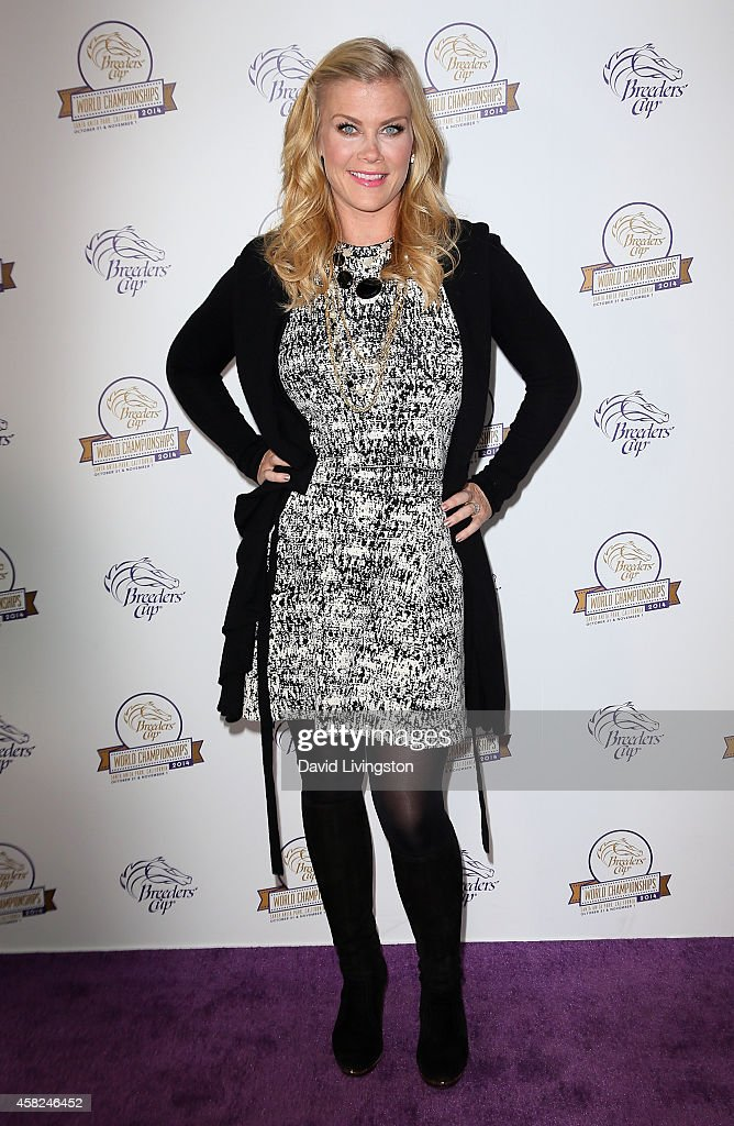Actress <a gi-track='captionPersonalityLinkClicked' href=/galleries/search?phrase=Alison+Sweeney&family=editorial&specificpeople=217974 ng-click='$event.stopPropagation()'>Alison Sweeney</a> attends the 2014 Breeders' Cup World Championships at Santa Anita Park on November 1, 2014 in Arcadia, California.