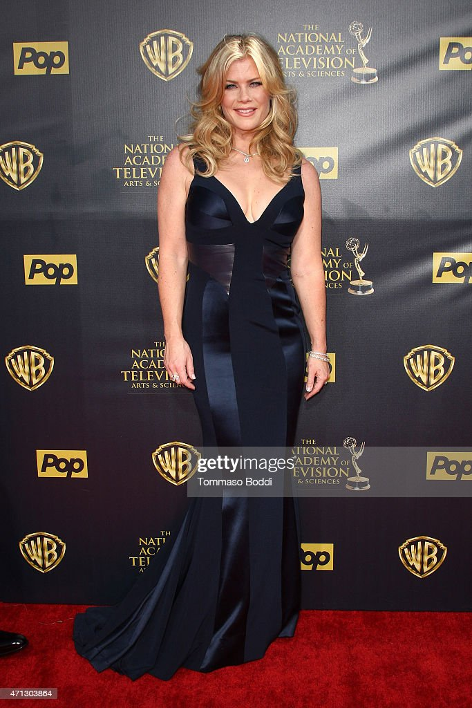 Actress <a gi-track='captionPersonalityLinkClicked' href=/galleries/search?phrase=Alison+Sweeney&family=editorial&specificpeople=217974 ng-click='$event.stopPropagation()'>Alison Sweeney</a> attends the 42nd annual Daytime Emmy Awards held at Warner Bros. Studios on April 26, 2015 in Burbank, California.
