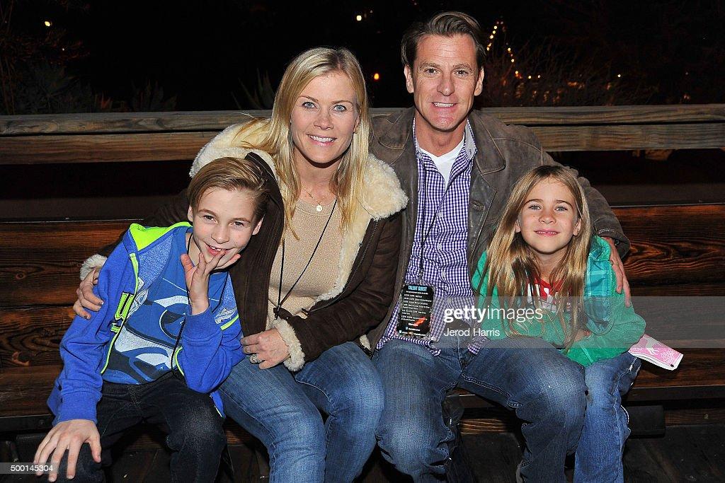 Actress Alison Sweeney husband David Sanov and children Benjamin and Megan attend Knott's Merry Farm Countdown to Christmas Tree Lighting at Knott's...