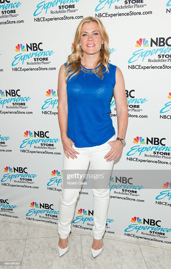 Actress <a gi-track='captionPersonalityLinkClicked' href=/galleries/search?phrase=Alison+Sweeney&family=editorial&specificpeople=217974 ng-click='$event.stopPropagation()'>Alison Sweeney</a> promotes her book 'Scared Scriptless' at the NBC Experience Store on June 3, 2014 in New York City.