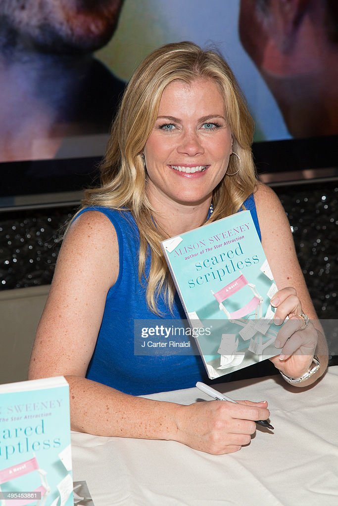 Actress <a gi-track='captionPersonalityLinkClicked' href=/galleries/search?phrase=Alison+Sweeney&family=editorial&specificpeople=217974 ng-click='$event.stopPropagation()'>Alison Sweeney</a> Signs Copies Of Her Book 'Scared Scriptless' at the NBC Experience Store on June 3, 2014 in New York City.