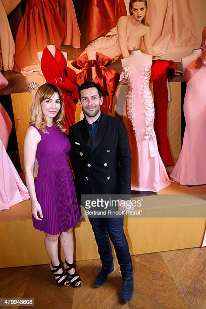 Actress Alix Benezech and Fashion Designer Alexis Mabille attend the Presentation of the Alexis Mabille Haute Couture Fall/Winter 2015/2016...