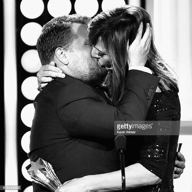 Actress Allison Janney accepts the Best Supporting Actress award for 'Mom' from tv personality James Corden onstage during the 5th Annual Critics'...