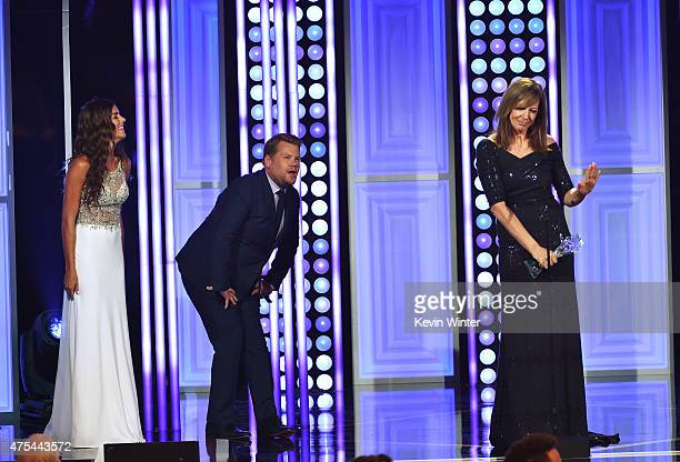 Actress Allison Janney accepts the Best Supporting Actress in a Comedy Series award for 'Mom' from tv personality James Corden onstage at the 5th...