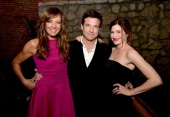 Actress Allison Janney actor/director/producer Jason Bateman and actress Kathryn Hahn pose at the after party for the premiere of Focus Features'...