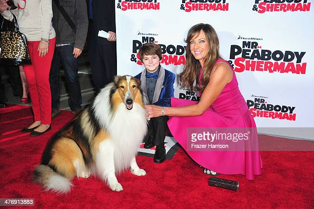 Actress Allison Janney and actor Max Charles arrive at the Premiere of Twentieth Century Fox and DreamWorks Animation's 'Mr Peabody Sherman' at...
