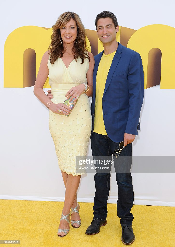 Actress Allison Janney and guest arrive at the premiere of Universal Pictures and Illumination Entertainment's 'Minions' at The Shrine Auditorium on June 27, 2015 in Los Angeles, California.