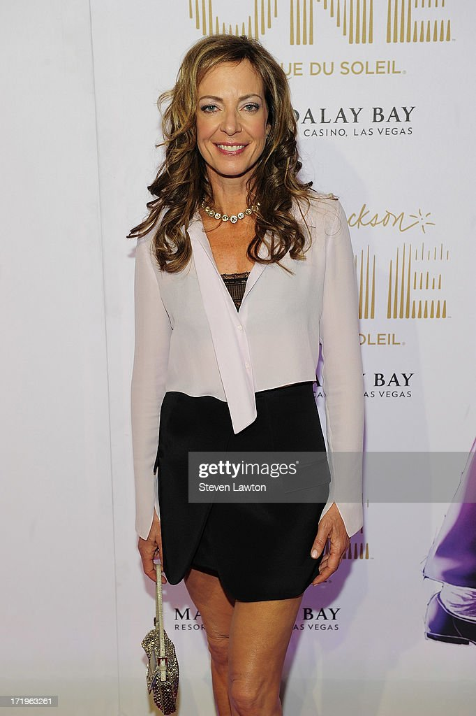 Actress <a gi-track='captionPersonalityLinkClicked' href=/galleries/search?phrase=Allison+Janney&family=editorial&specificpeople=206290 ng-click='$event.stopPropagation()'>Allison Janney</a> arrives at the world premiere of 'Michael Jackson ONE by Cirque du Soleil' at THEhotel at Mandalay Bay on June 29, 2013 in Las Vegas, Nevada.