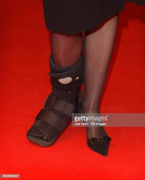 Actress Allison Janney arrives in a plaster cast on her right foot for the 51st BFI London Film Festival screening of the film Juno at the Odeon West...