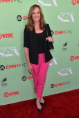 Actress Allison Janney arrives to an exclusive conversation with the cast of Showtime's 'Masters Of Sex' at Leonard H Goldenson Theatre on April 29...