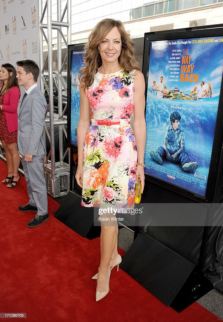 Actress <a gi-track='captionPersonalityLinkClicked' href=/galleries/search?phrase=Allison+Janney&family=editorial&specificpeople=206290 ng-click='$event.stopPropagation()'>Allison Janney</a> attends the premiere of Fox Searchlight Pictures' 'The Way, Way Back' at Regal Cinemas L.A. Live on June 23, 2013 in Los Angeles, California.