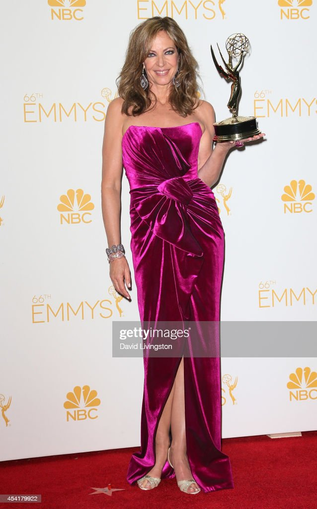 Actress <a gi-track='captionPersonalityLinkClicked' href=/galleries/search?phrase=Allison+Janney&family=editorial&specificpeople=206290 ng-click='$event.stopPropagation()'>Allison Janney</a> poses in the press room at the 66th Annual Primetime Emmy Awards at the Nokia Theatre L.A. Live on August 25, 2014 in Los Angeles, California.