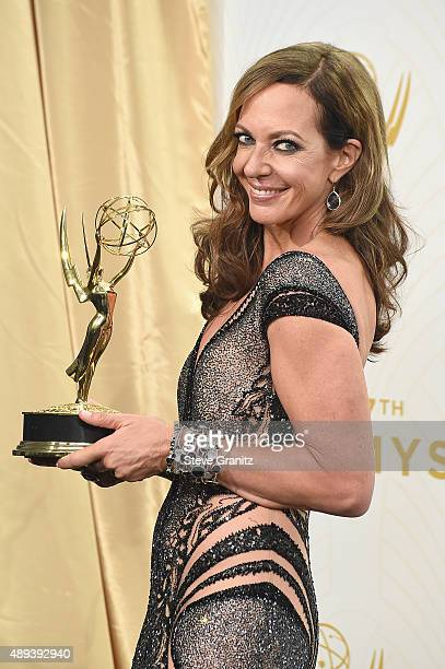 Actress Allison Janney poses with an Emmy award in the press room at the 67th Annual Primetime Emmy Awards at Microsoft Theater on September 20 2015...