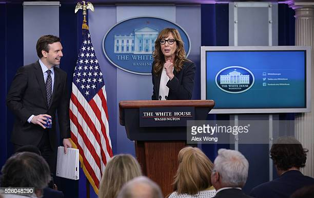 Actress Allison Janney speaks as she shows up to surprise members of the press crops at the James Brady Press Briefing Room of the White House as...
