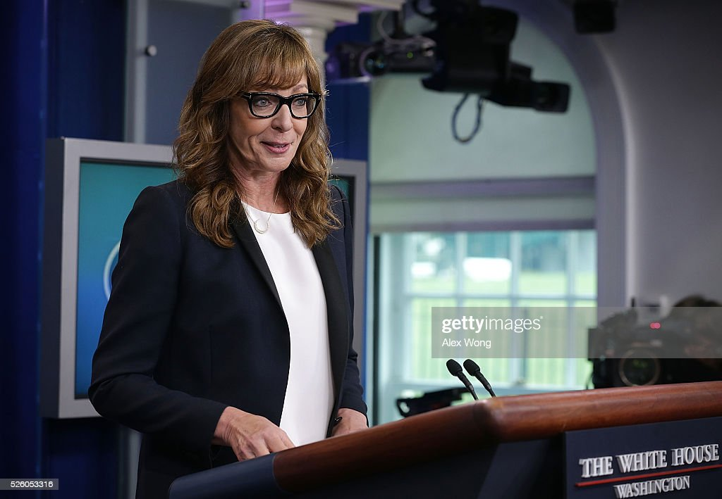 Actress <a gi-track='captionPersonalityLinkClicked' href=/galleries/search?phrase=Allison+Janney&family=editorial&specificpeople=206290 ng-click='$event.stopPropagation()'>Allison Janney</a> speaks as she shows up to surprise members of the press crops at the James Brady Press Briefing Room of the White House April 29, 2016 in Washington, DC. Janney, who was known to viewers as White House press secretary C.J. Cregg in the drama series The West Wing, was in town to call for attention on the opioid epidemic.