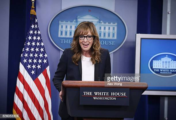 Actress Allison Janney speaks as she shows up to surprise members of the press crops at the James Brady Press Briefing Room of the White House April...
