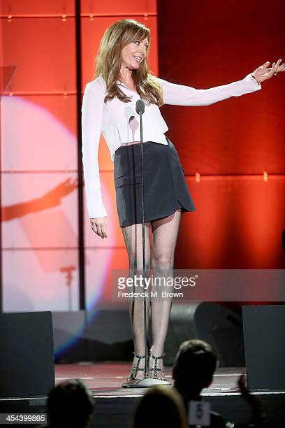 Actress Allison Janney speaks onstage at 'TrevorLIVE LA' honoring Jane Lynch and Toyota for the Trevor Project at Hollywood Palladium on December 8...