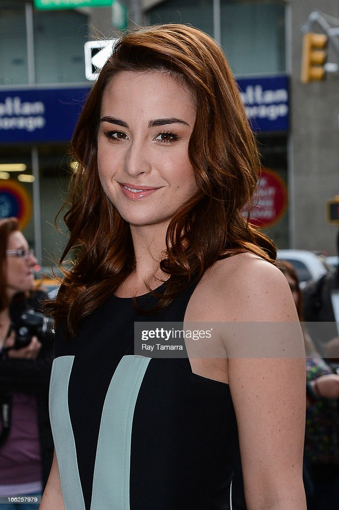 Actress Allison Scagliotti leaves her Soho hotel on April 10, 2013 in New York City.