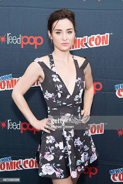 Actress Allison Scagliotti poses in the press room for the 'Stitchers' panel during New York ComicCon Day 2 at The Jacob K Javits Convention Center...