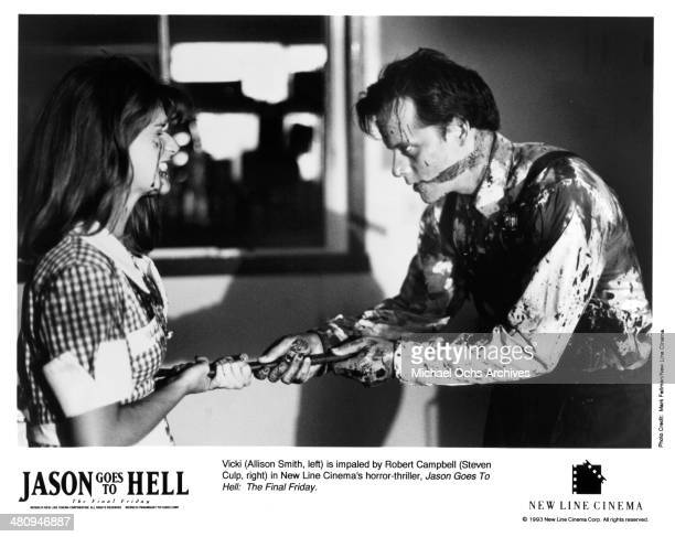 Actress Allison Smith and actor Steven Culp in a scene from the New Line Cinema movie 'Jason Goes to Hell The Final Friday' circa 1993
