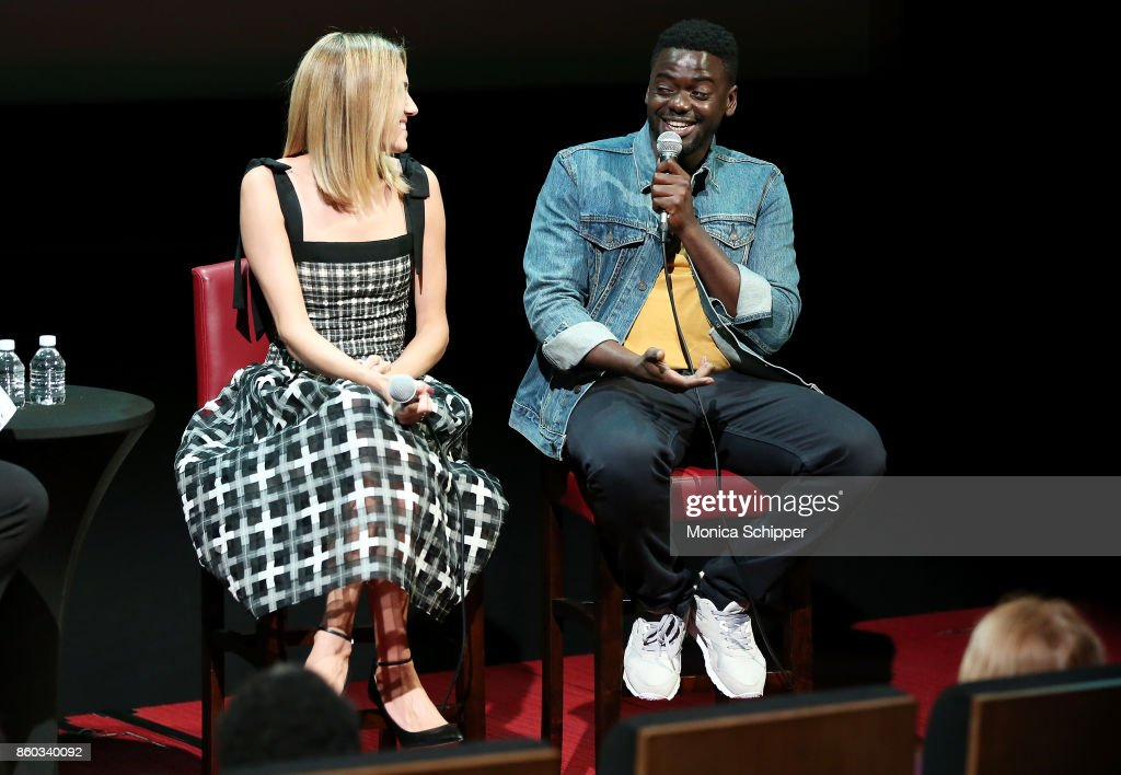 Actress Allison Williams (L) and Daniel Kaluuya speak on stage when they attend SAG-AFTRA Foundation Conversations 'Get Out' + Allison Williams and Daniel Kaluuya at SAG-AFTRA Foundation Robin Williams Center on October 11, 2017 in New York City.