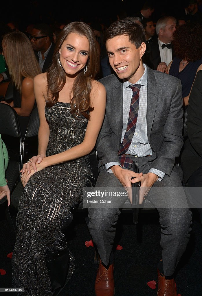 Actress Allison Williams (L) and Ricky Van Veen attend the 55th Annual GRAMMY Awards at STAPLES Center on February 10, 2013 in Los Angeles, California..