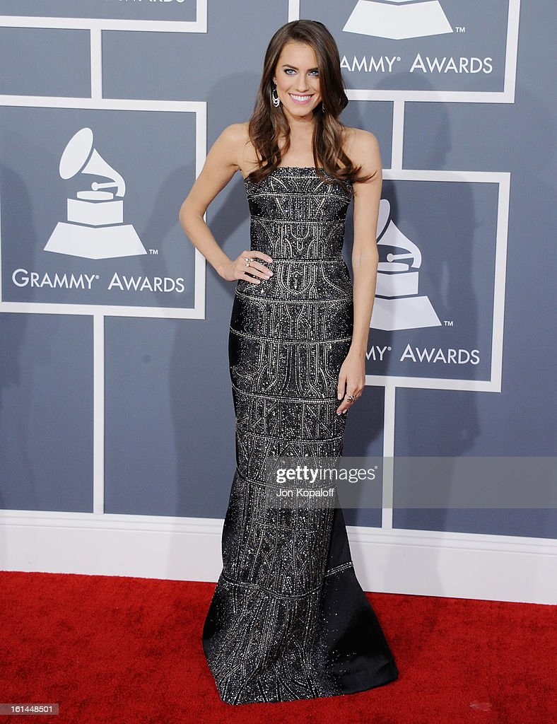 Actress Allison Williams arrives at The 55th Annual GRAMMY Awards at Staples Center on February 10, 2013 in Los Angeles, California.